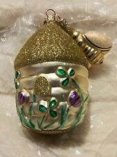 Signed 1996 #9609 Patricia Breen Clover Beeskep & Bee Glass Christmas Ornament