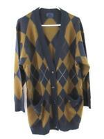 Bogner Cardigan Sweater Argyle Pattern Navy Blue Brown Pockets Women's Size US 6