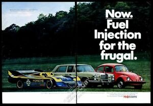 1975 VW Volkswagen Beetle red car Porsche 917 Mercedes-Benz photo print ad