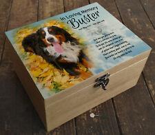 Wooden box urn casket, memorial keepsake, Personalised Bernese mountain dog