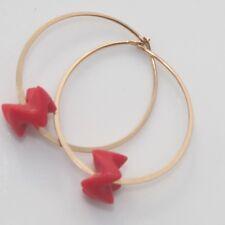 Vintage Gorgeous14K Gold Filled Hoop Earrings W Red Sardinian Coral Carvings
