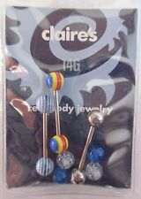 4CDa 5 ball cap blue 14g 5/8 surgical steel TONGUE 3 BARBELL BODY JEWELRY