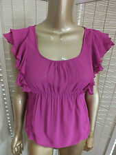 CUE Blouse Camisole SHEER FRILL TANK Top Dressy SHIRT Suit Career 8 S