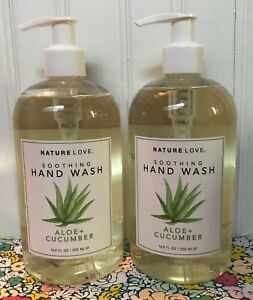 2 NATURE LOVE SOOTHING HAND WASH ALOE VERA & CUCUMBER 16.9 OZ. JOCOTT