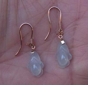 A pair of Fine Earrings 18K Solid Rose Gold and Glassy Icy Grade A Jadeite Jade