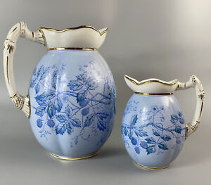 """Antique W & C Opaque China Large 12"""" H Pitcher & Jug - England c19th"""
