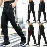 Men's Track Pants Gym Training Sweatpants Zipper Pocket Joggers Stretch Trousers
