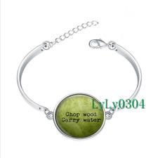 Chop Wood Carry Water glass cabochon Tibet silver bangle bracelets wholesale