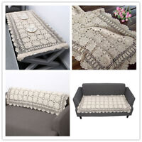 Vintage Rectangle Tablecloth Hand Crochet Cotton Lace Table Cloth 23x70inch Ecru