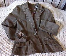 Jacket by CARIBBEAN JOE Size 14 Browny green brushed cotton Soft denim feel