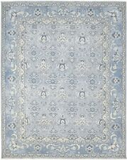 "Wool Silk Blue Rug 8'X10' Modern Hand Knotted Bokhara Oriental 7'9""X9'9"" Carpet"