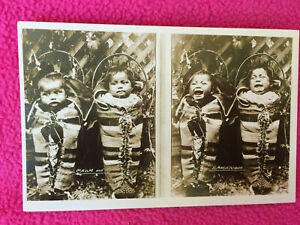 AMERICAN INDIAN antique RPPC POSTCARD babies CALM & TEMPESTUOUS papoose CRYING