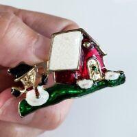 Vintage Christmas House Snowman Enamel Glitter Pin Gold Tone Home