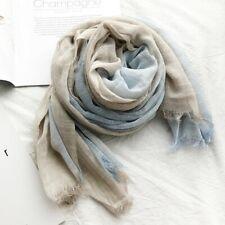 Großer Schal, Hellblau / Beige, Baumwolle / Polyester - 190 x 100 cm