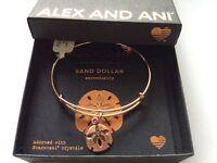 Alex and Ani Sand Dollar III Bangle Bracelet Rose Gold NWTBC