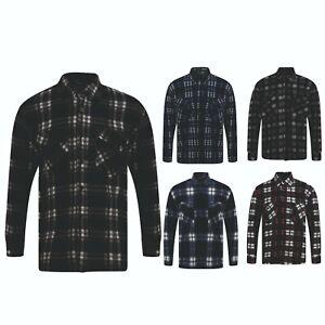 Mens Fleece Shirt Lumberjack Work Coat Jacket Check Thermal Winter Warm NEW