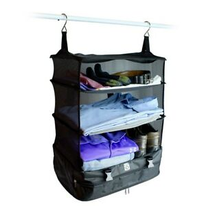 Stow N Go Large Luggage Travel Organizer 3 Tiers Portable Hanging Shelves Black