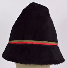 Black Ski button stripes Furry Fuzzy bucket hat cap fitted.