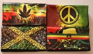 HIGH QUALITY TOBACCO POUCH 'LEAF, JAMAICA,PEACE,BE HAPPY,RASTA COLOURS 4 DESIGNS