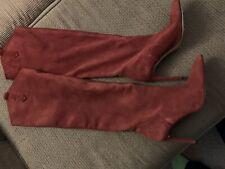 Zara High Heel Knee High Boots Burgundy Suede Slouch 41 (US 10)