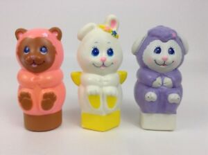 Rattle Shaker Bear Bunny Sheep Boat Baby Toy Shape 3pc Lot Figures Vintage 1984