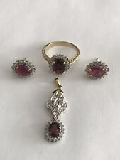 14k 2-tone Gold Ruby Diamond Ring Earring & Pendant Jewelry Set