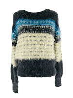 Lou & Grey Women's Gray Fuzzy Fair Isle Long Sleeve Pullover Sweater Small NEW
