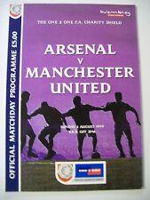 Football Programme. One 2 One FA Charity Shield 2000. Arsenal v Manchester Utd.