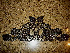 Cast Iron Grapevine Topper Valance Old World Tuscan Kitchen Wall Plaque Decor