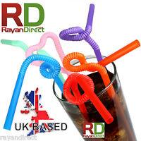 100Pcs Super Extra Bendy Long Mega Drinking Straws Coloured Special 260mm x 6mm