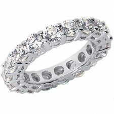 3.02 carat Round Diamond Ring 14k White Gold Eternity Band F-G Si1 0.15 ct each