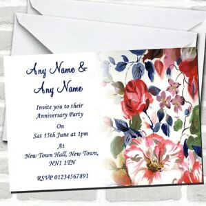 Pretty Blue Vintage Floral Wedding Anniversary Party Invitations