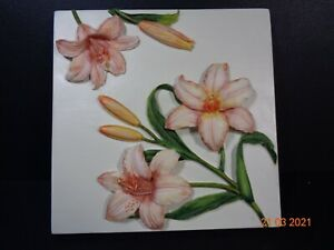 Floral Raised 3d Wall Plaque Poly Resin Beautiful Flowers FREEPOST