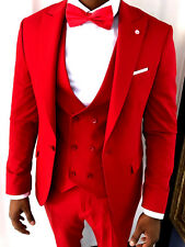 Designer Business Suit Royal Red Red Suit Jacket Trousers Vest Fitted 46
