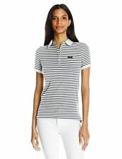 Helly Hansen Striped Polo Shirt Short Sleeve Top White Stretch Cotton Womens XS