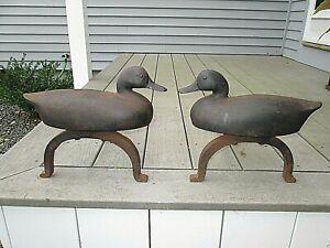 Vintage RFH Clancey cast iron duck decoy andirons