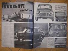 MINI MINOR INNOCENTI BMC MADE IN ITALY 1965 FOTO ARTICOLO CLIPPING MAGAZINE