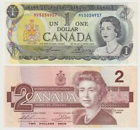 Canada - 2 NOTE COMBO - $1  (1973) +   $2 (1986) - EF/aUNC Notes ✹QC L6✹
