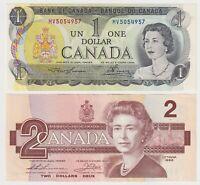 Canada - 2 NOTE COMBO - $1  (1973) +   $2 (1986) - EF/aUNC Notes ✹QC L6✹