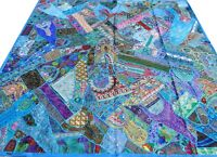 Quilt Queen Turquoise Blue Patchwork Indian Bedspread Handmade Bed cover India