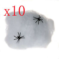 10pcs Toy Spider Web With Spider Halloween Party Club Party Haunted House Decor