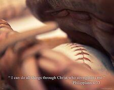 Religious Motivational Poster Art Print 11X14 Baseball Philippians 4:13  RELG21
