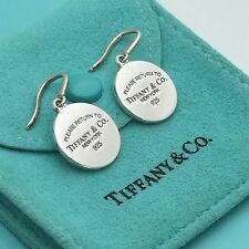 Please Return to Tiffany & Co Silver Drop Round Tag Earrings