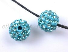 10pcs Blue zircon Crystal Rhinestones Pave Clay Round Ball Spacer Beads 10MM