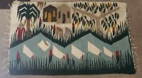 """Vintage Egyptian Handwoven Wool Pictorial Tapestry Rug Harrania 31"""" x 50"""""""