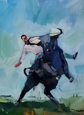 JOSE TRUJILLO IMPRESSIONISM OIL PAINTING PERSON RIDING A BULL COLLECTIBLE ARTIST