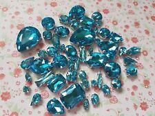 50pcs Mixed Sew On Turquoise Crystal Glass Diamante Claw Set Rhinestone Gems