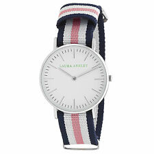 NIB LAURA ASHLEY WOMEN'S WATCH-Silver Ultra Slim Case-Knitted Colored Band- $295