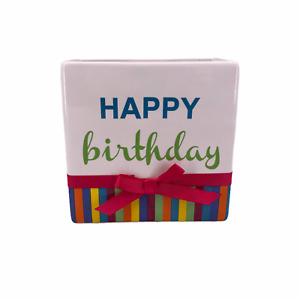 "FTD Happy Birthday Ceramic Vase Planter Container Holder 6"" x 3"" Gift Bag"