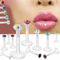 "16G 1/4"" 5/16"" 3/8"" Tiny CZ Gem BioFlex Push Snap In Stud Ear Labret Tragus Ring"